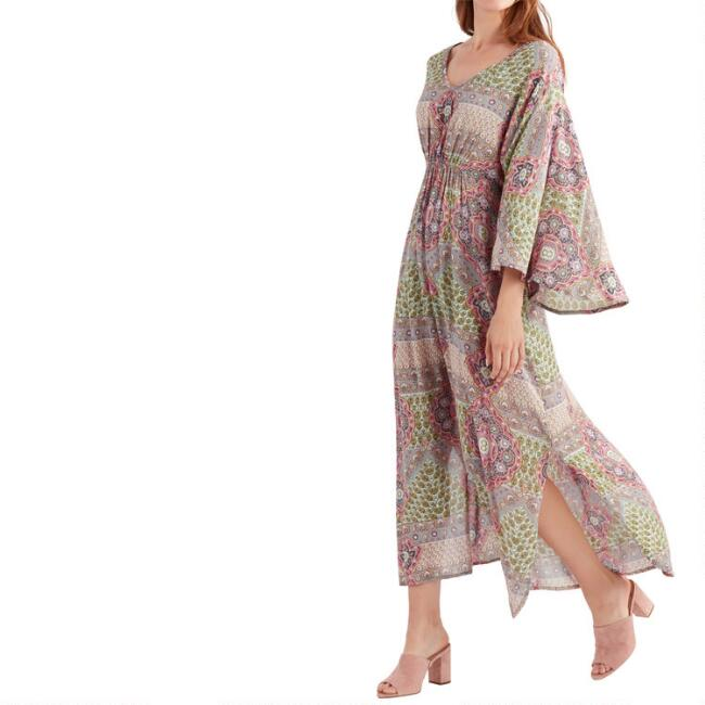 Multicolored Abstract Floral Shelby Kaftan Dress
