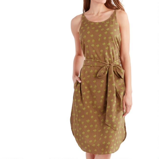 Caramel And Chartreuse Abstract Dot Alana Dress with Pockets