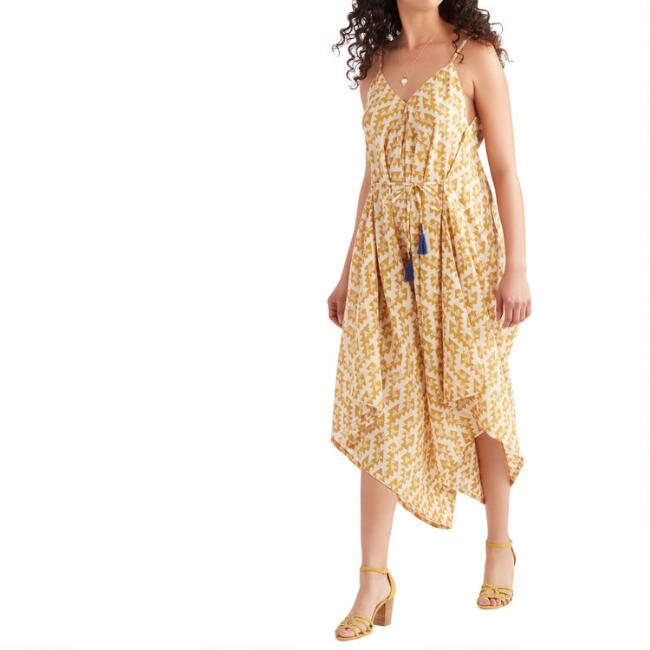 Mustard And Ivory Geometric Print Jumpsuit With Pockets