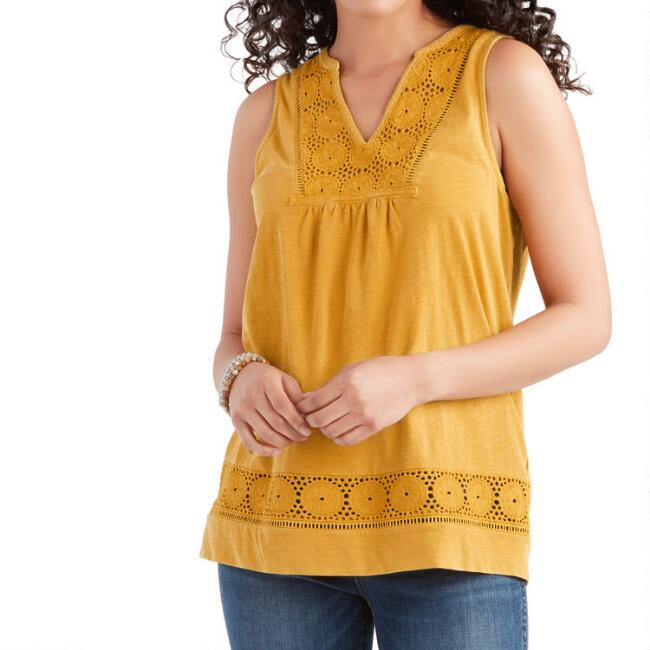 Mustard Yellow Geometric Lace Knit Tank Top
