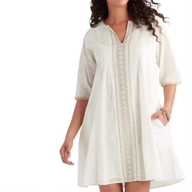 White, Tan And Silver Nadia Tunic with Pockets