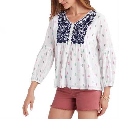 Multicolored Embroidered Dobby Portia Top
