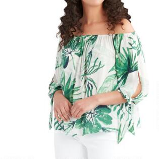 23fae398 Green And White Tropical Palm Off the Shoulder Top. (3). Quick Shop