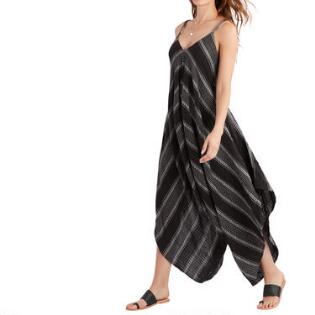 8778d0ffb495 Black And White Woven Striped Jumpsuit With Pockets