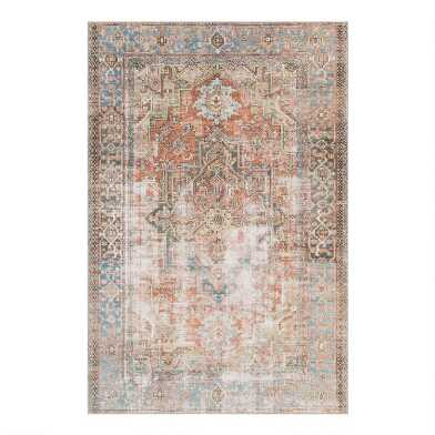 Terracotta and Blue Distressed Lauren Area Rug