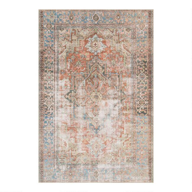 Terracotta and Blue Distressed Primus Area Rug