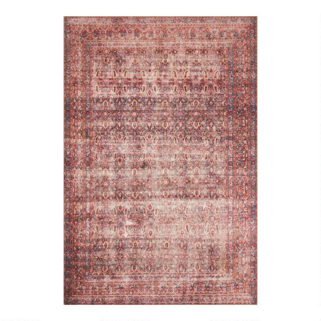 Eggplant and Crimson Distressed Pepper Area Rug
