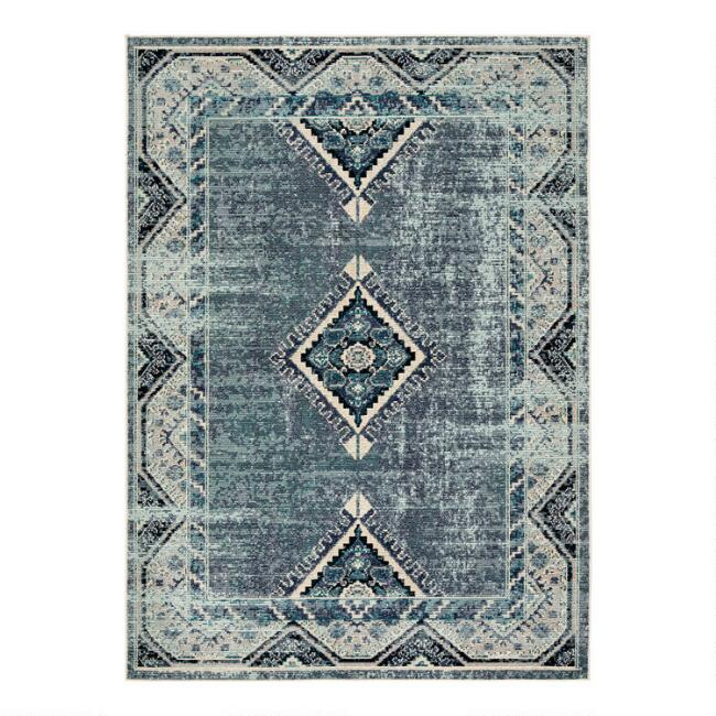 Blue Diamond Medallion Lorelai Indoor Outdoor Rug