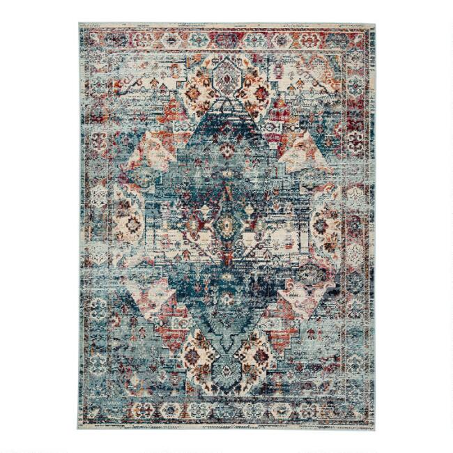 Blue Multicolor Medallion Jayde Indoor Outdoor Rug