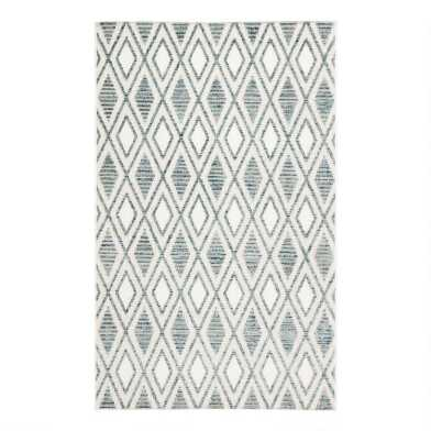 Blue and White Lattice Lahana Indoor Outdoor Rug