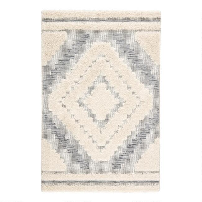 Gray and Cream Geometric Hilo Indoor Outdoor Rug