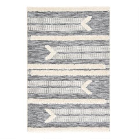 Gray and Cream Shag Stripe Hanai Indoor