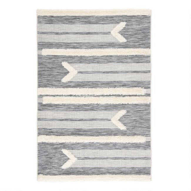Gray and Cream Shag Stripe Hanai Indoor Outdoor Rug