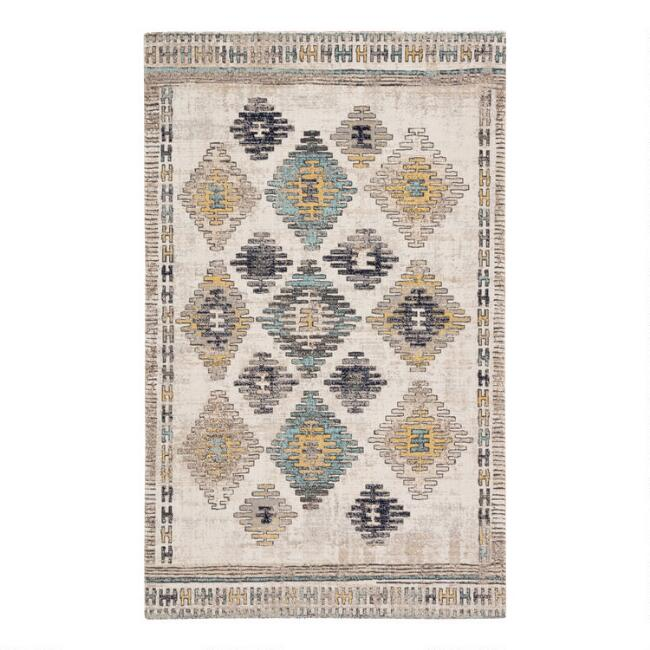 Ivory Multicolor Diamond Mayate Indoor Outdoor Rug
