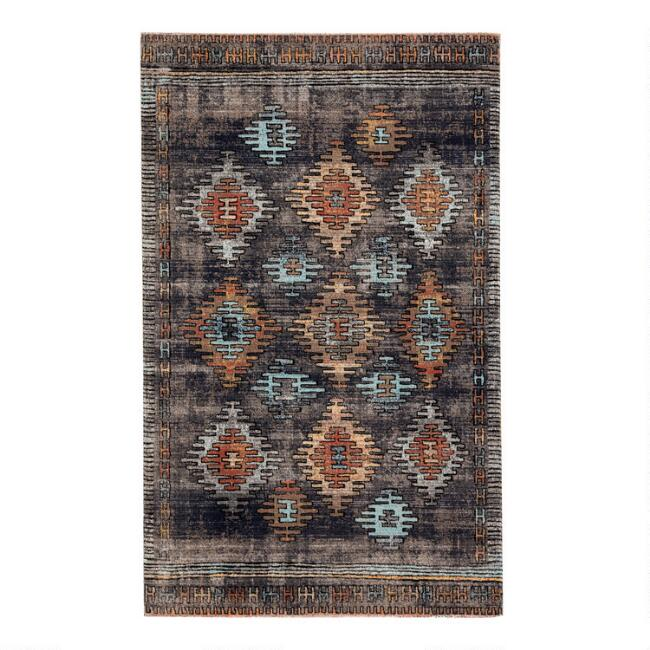 Dark Blue Multicolor Diamond Mayate Indoor Outdoor Rug