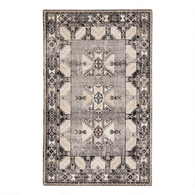 Gray and Beige Geometric Merit Indoor Outdoor Rug