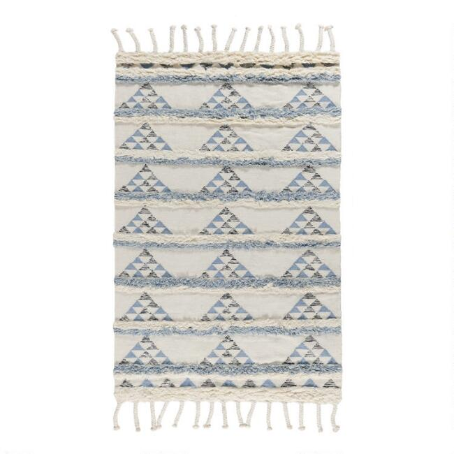 Blue and Ivory Triangle Wool Shag Kilim Area Rug
