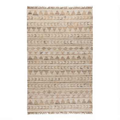 Tan Geometric Stripe Flatweave Jute Rancho Area Rug