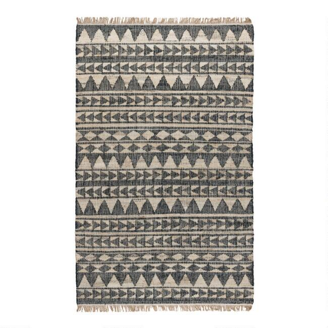 Black Geometric Stripe Flatweave Jute Rancho Area Rug