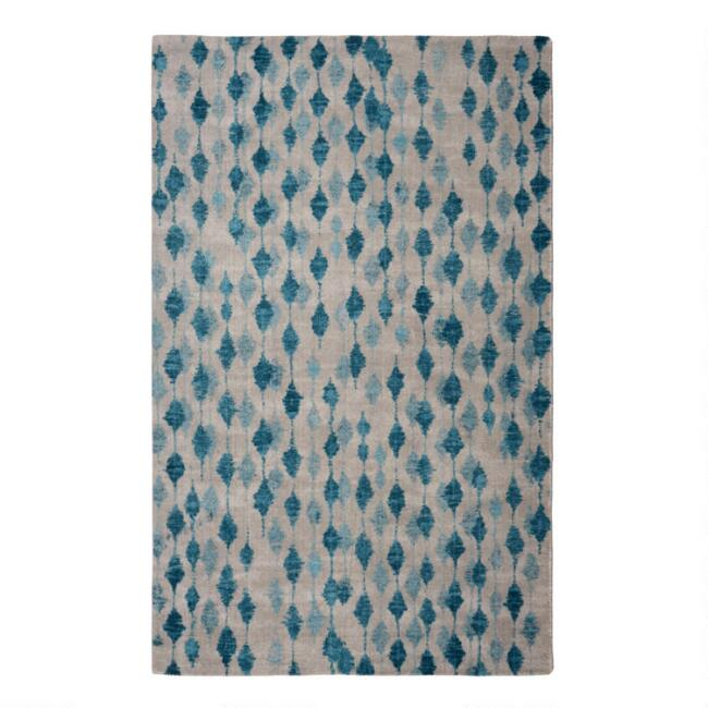 Blue and Taupe Raindrops Area Rug