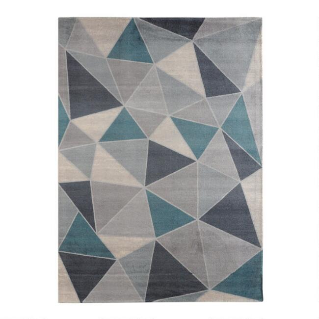 Teal and Blue Mid Century Geometric Vonnegut Area Rug