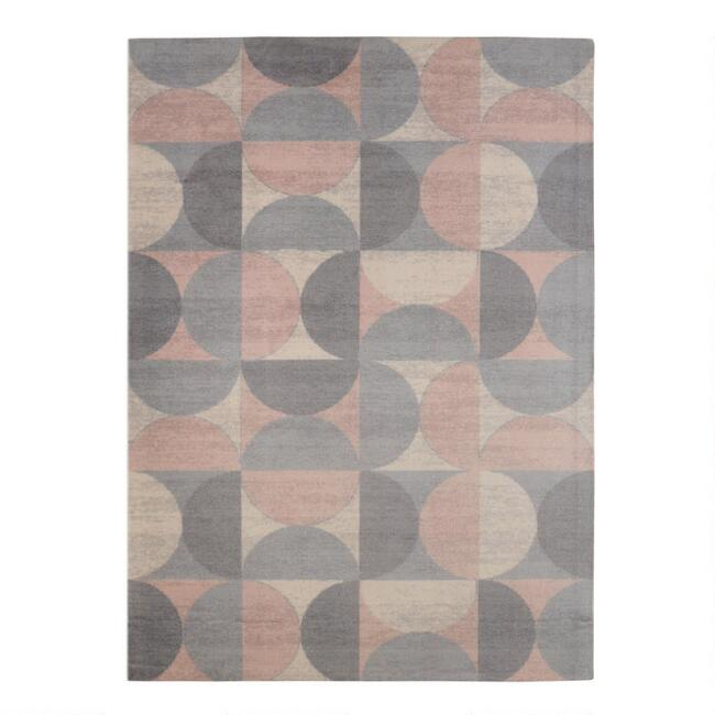 Gray and Blush Mid Century Lunar Area Rug