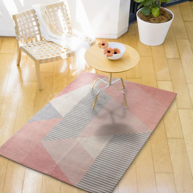 Blush and Gray Geometric Beale Area Rug