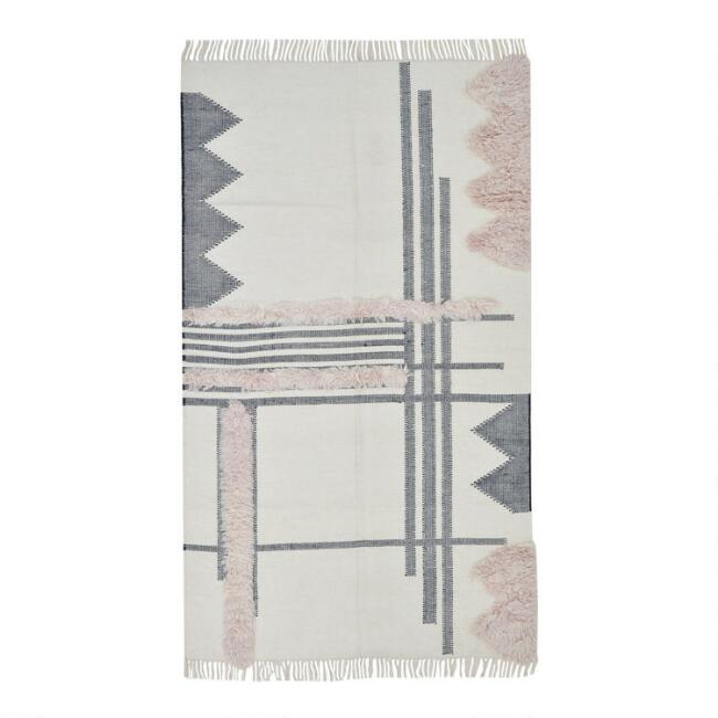 Ivory, Gray and Blush Boho Wool Toth Area Rug