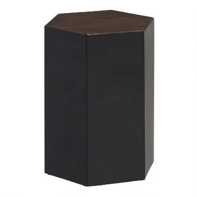 Wood and Metal Hexagon Kabir Accent Table