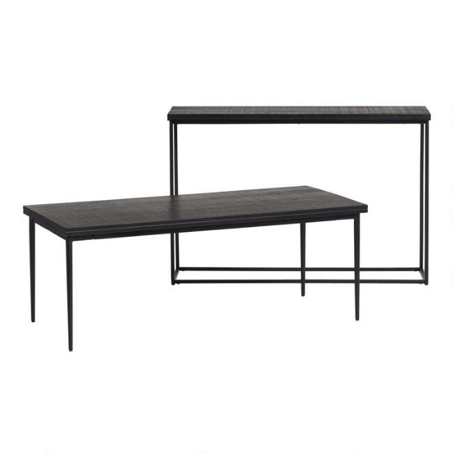 Black Carved Wood and Metal Samir Table Collection