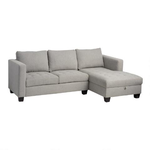 Sensational Gray Right Facing Trudeau Sectional Sofa With Storage Gmtry Best Dining Table And Chair Ideas Images Gmtryco