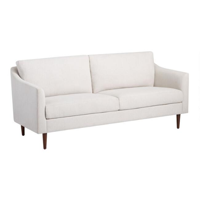 Antique White Herringbone Slope Arm Amaya Sofa