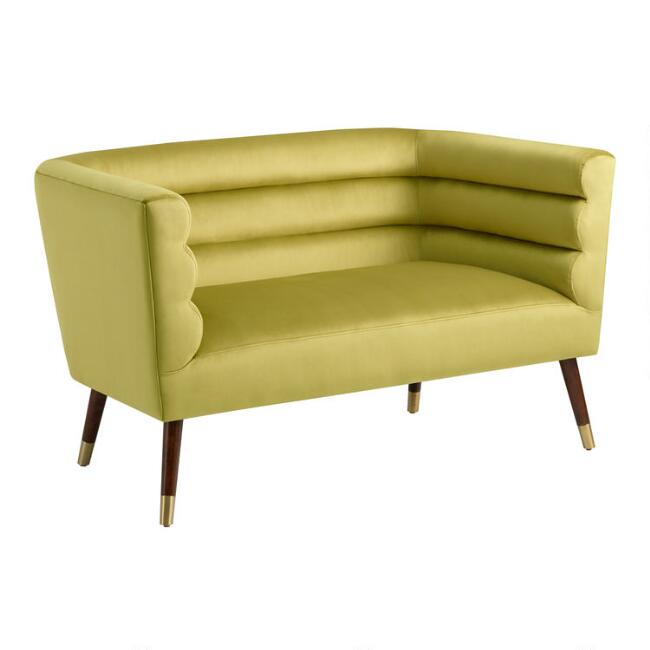Green Horizontal Channel Back Zoe Loveseat