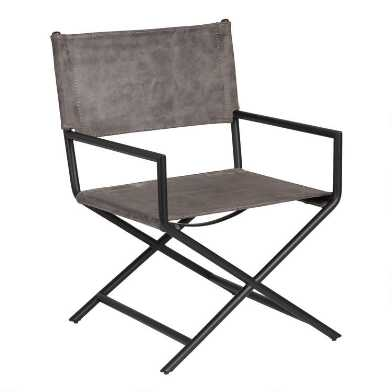 Warm Gray Faux Leather Derek Director's Chair