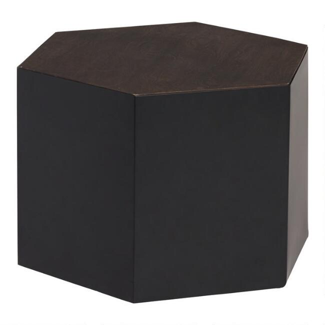 Wood and Metal Hexagon Kabir Coffee Table