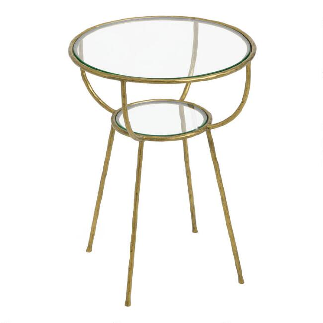 Round Glass and Gold Hammered Metal Hali Accent Table