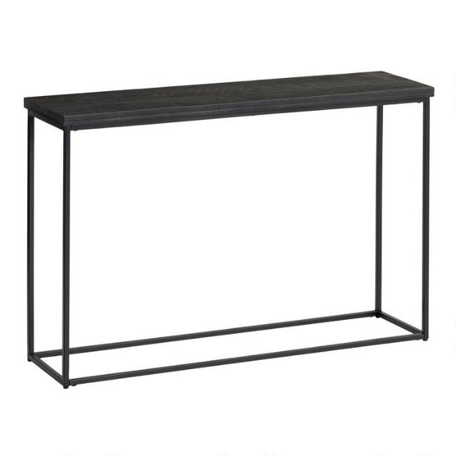Black Geometric Carved Wood and Metal Samir Console Table