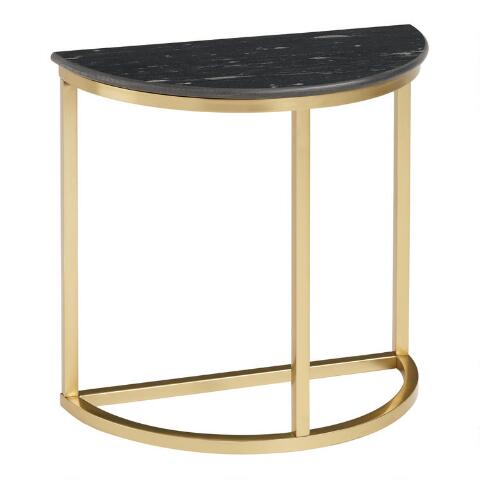 Half Round Black Granite and Gold Metal Tanis Accent Table