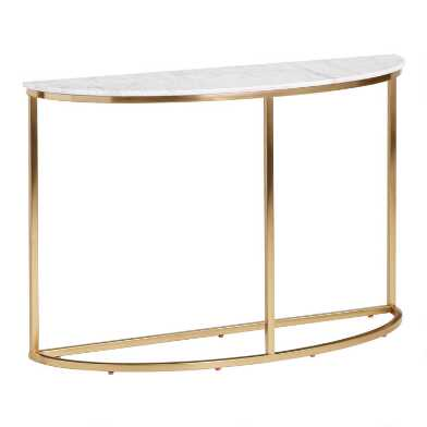 Half Round White Marble Milan Console Table