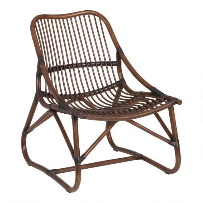 Espresso Handwoven Rattan Slope Arm Kenji Rattan Chair
