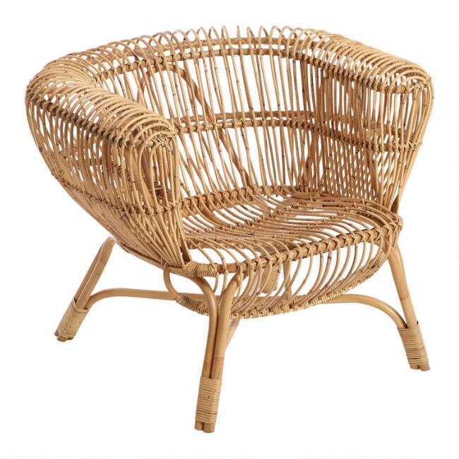 Handwoven Rattan and Kubu Roll Arm Calida Chair