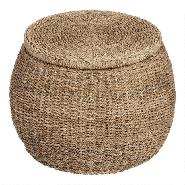 Round Rattan and Seagrass Eric Storage Ottoman