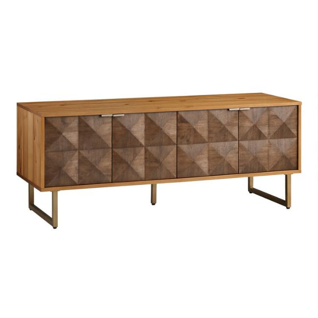 Two Tone Wood Diamond Rouvin Media Cabinet by World Market