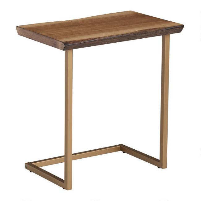 Faux Live Edge Wood and Gold Metal Sloan Laptop Table