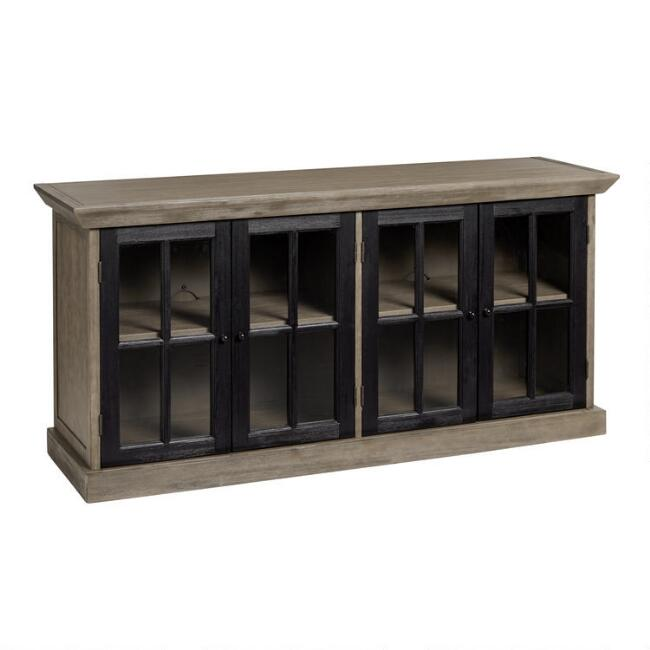 Black and Graywash Wood Braden Media Cabinet