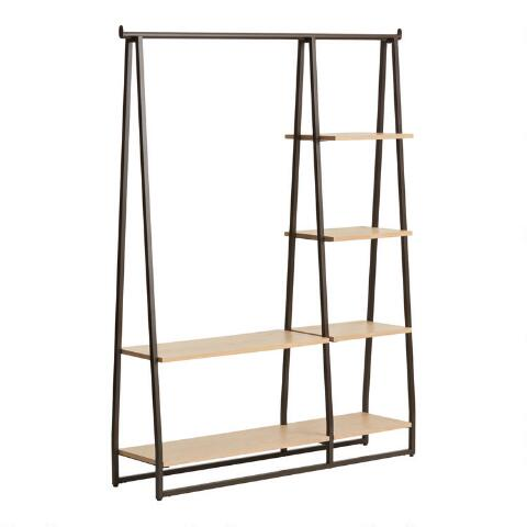 Wood And Metal Argus Clothing Rack With Shelves