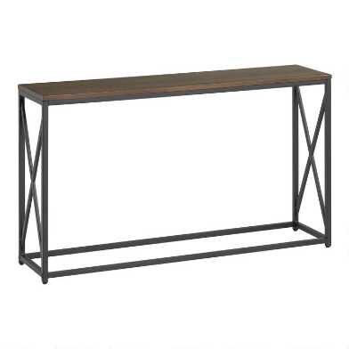 Dark Brown and Black X Base Farmhouse Console Table