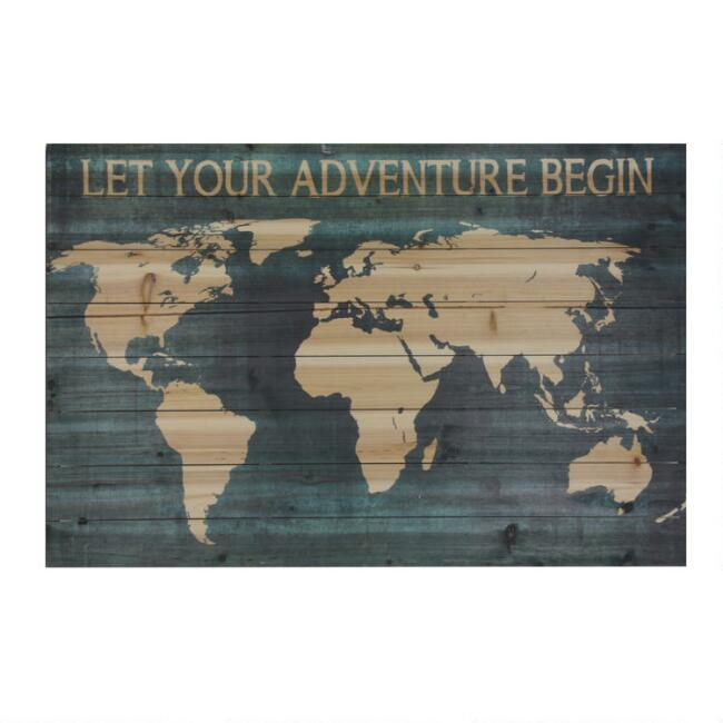 Wood Plank World Map Let Your Adventure Begin Wall Art