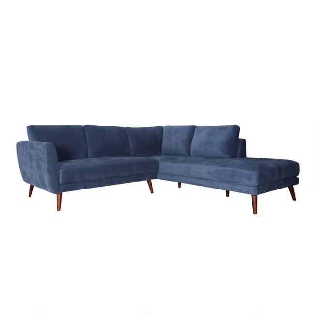 Blue Right Facing 2 Piece Campbell Sectional Sofa