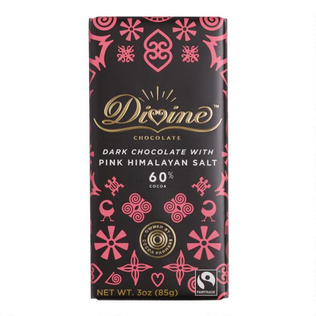Divine Pink Himalayan Salt 60% Dark Chocolate Bar